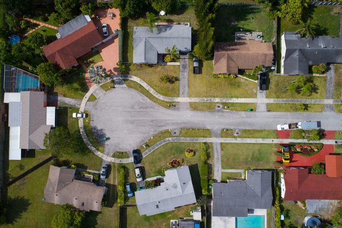 Stock aerial image of a residential neighborhood cul-de-sac