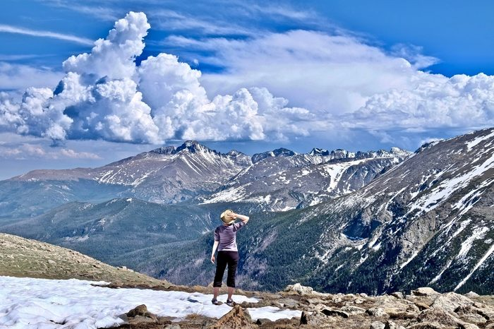 Woman hiking in Rocky Mountains National Park. Denver. Colorado. United States.
