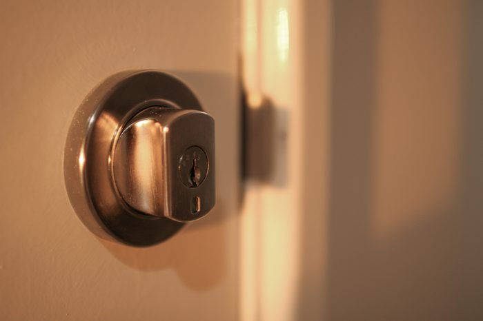 Lockwood Paradigm Double Cylinder Deadbolt on a white door in a new home build