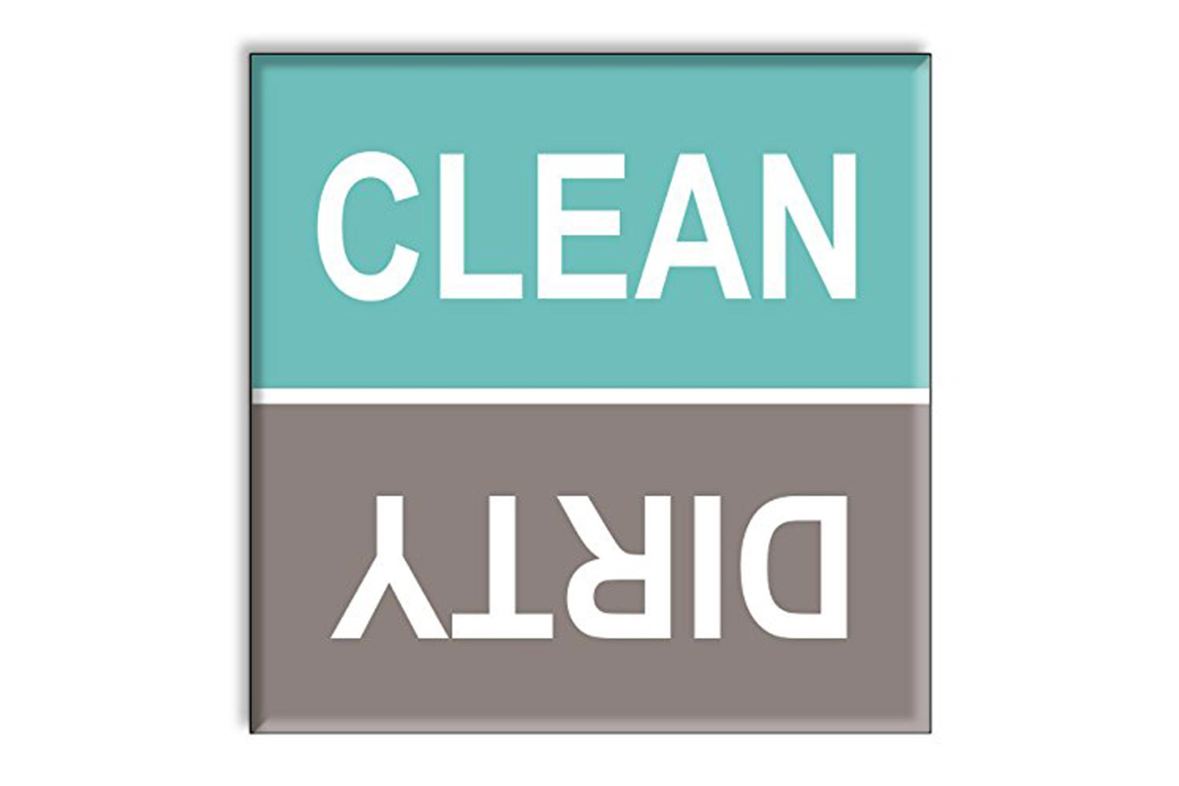 Guajolote Prints Clean Dirty Dishwasher Magnet Sign Indicator - Turquoise and Gray Beach Colors Style