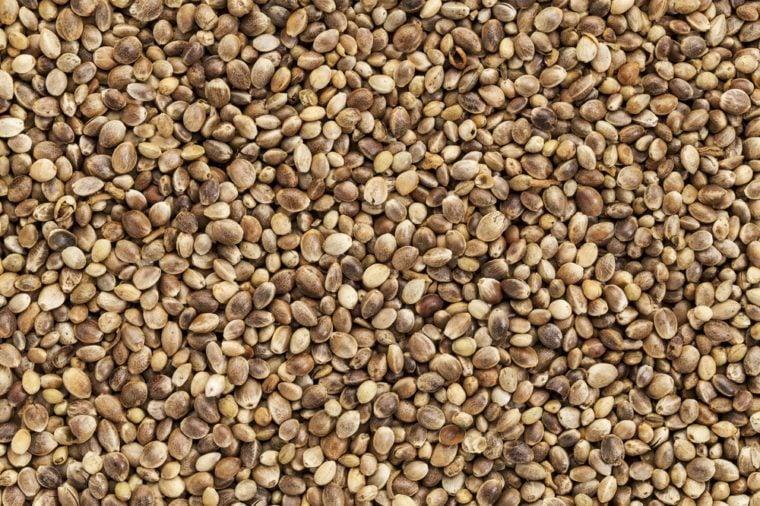 background of organic dried hemp seeds