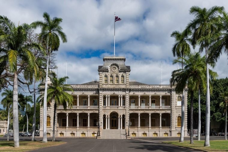 HONOLULU, HAWAII - JANUARY 20: Exterior of the Iolani Palace on King Street on January 20, 2017 in Honolulu, Hawaii