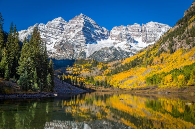 Maroon Bells Surrounded by Fall Colors