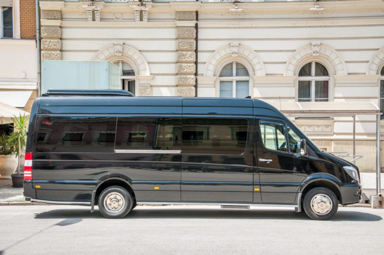 Mercedes Benz sprinter black luxury shuttle bus van parked on the street. June - 12. 2018. Novi Sad, Serbia. Editorial image