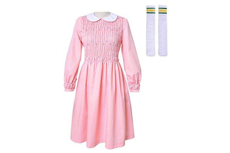 Miccostumes Girl's Pink Eleven Cosplay Beading Dress Costume Including Socks