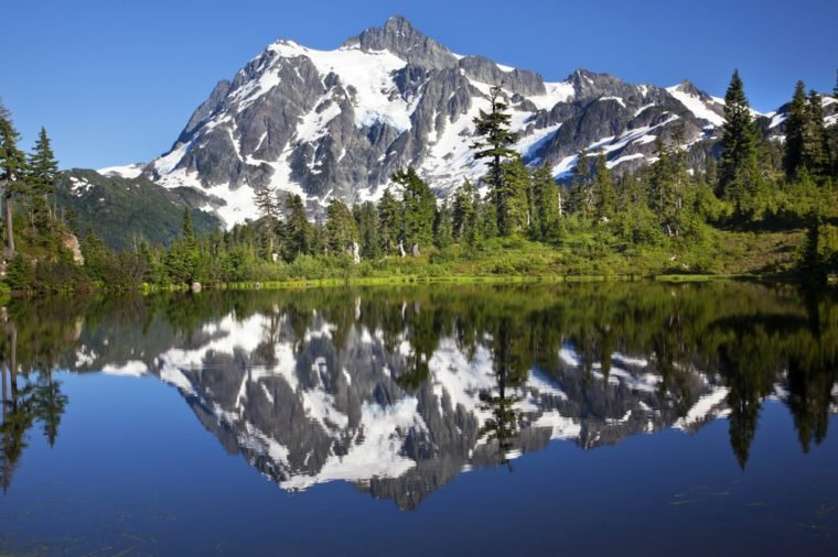 Mirror Image Reflection Lake Mount Shuksan Mount Baker Highway Snow Mountain Trees Washington State Pacific Northwest