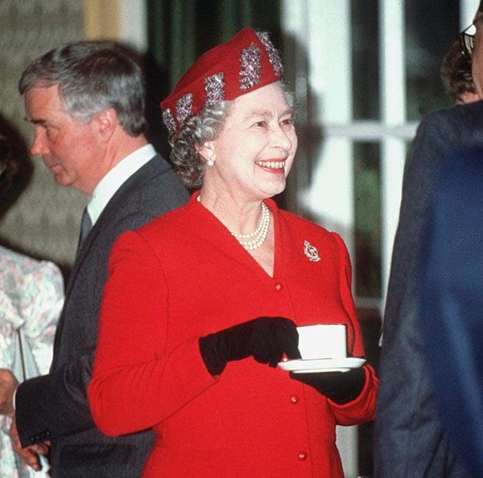 Mandatory Credit: Photo by Shutterstock (182944b) QUEEN ELIZABETH II QUEEN ELIZABETH II AT RAF RAYNHAM, BRITAIN - 1991