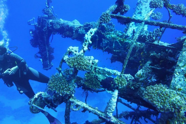 Woman scuba diver near shipwreck Salem Express, Red Sea Egypt