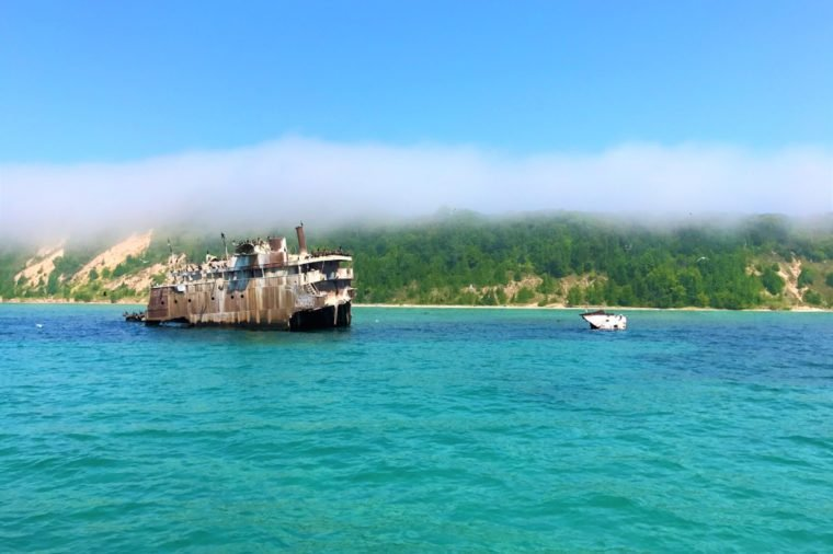 Shipwreck of the Francisco Morazan off the southern shore of South Manitou Island on Lake Michigan with a drifting over.