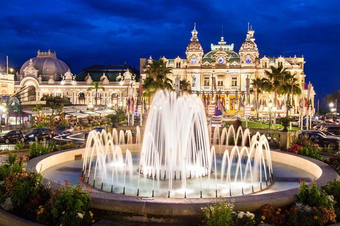 The Monte Carlo Casino, gambling and entertainment complex in Monte Carlo, Monaco, Cote de Azul, Europe. It includes a casino, Grand Theatre de Monte Carlo, and office of Les Ballets de Monte Carlo.