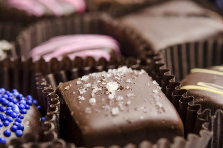 Salted Caramel Chocolate Truffle Close-Up