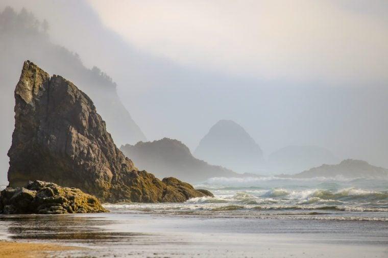 Hug Point beach near Cannon Beach on the Oregon Coast, USA