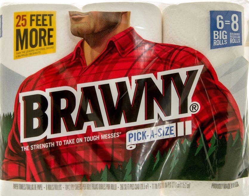 brawnt man on paper towel package