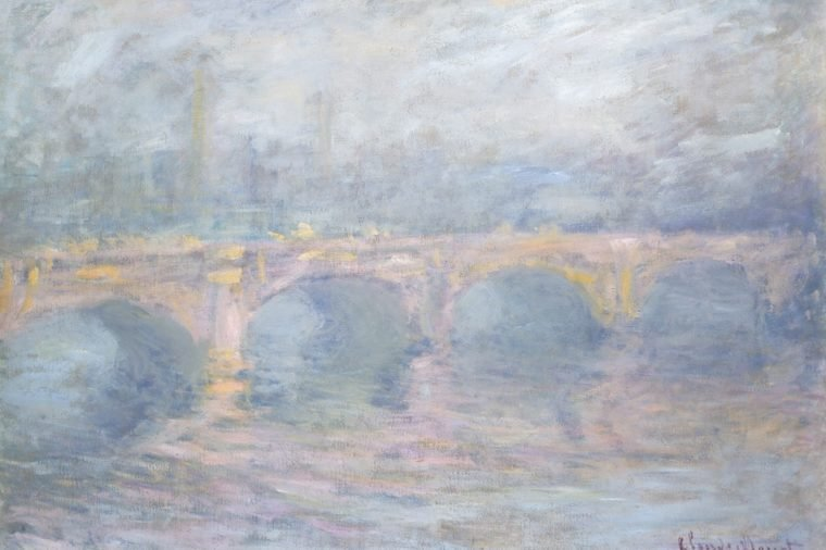 Waterloo Bridge, London, at Sunset, by Claude Monet, 1904, French impressionist painting, oil on canvas. From his rooms on the sixth floor of the Savoy Hotel, he could see Waterloo Bridge, Charing Cr