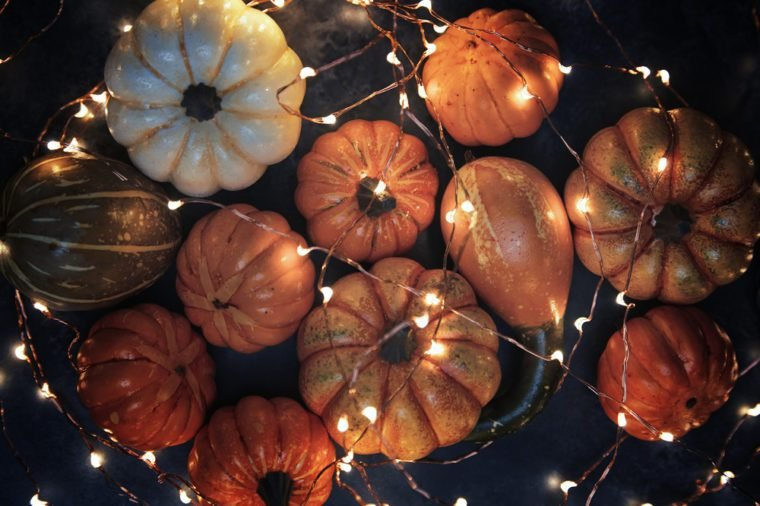 Halloween pumpkins with electric illumination