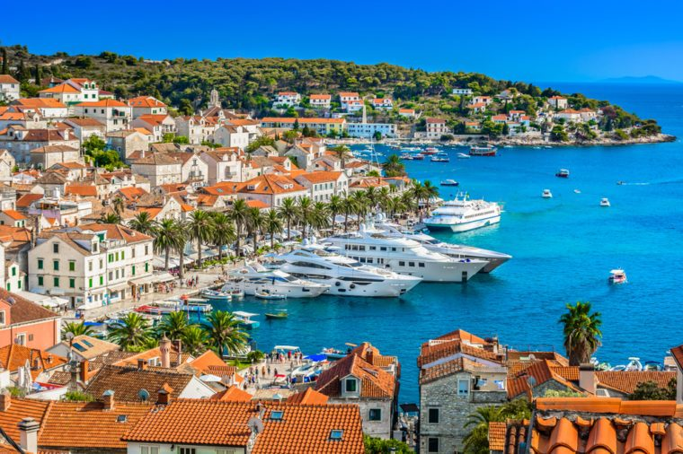 Aerial view at Hvar town in Southern Croatia, famous luxury travel destination in Europe, Mediterranean.
