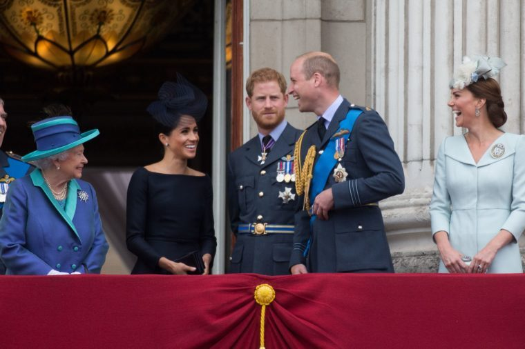 Queen Elizabeth II, Meghan Duchess of Sussex, Prince Harry Prince William and Catherine Duchess of Cambridge on the balcony of Buckingham Palace