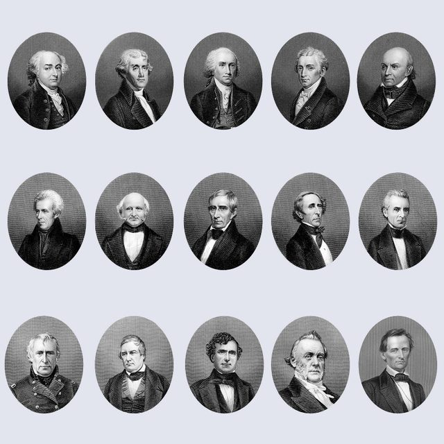 Copper engraving from the 19th Century, portraits of the Presidents of the United States of America from 1797 to 1865