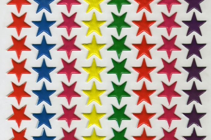 Colorful star stickers in nylon package