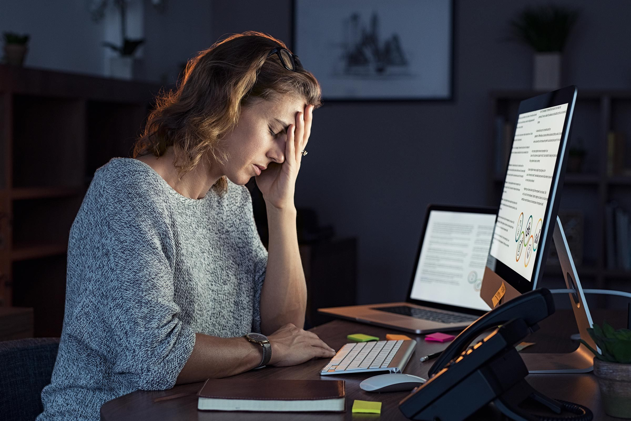 stressed woman work computer