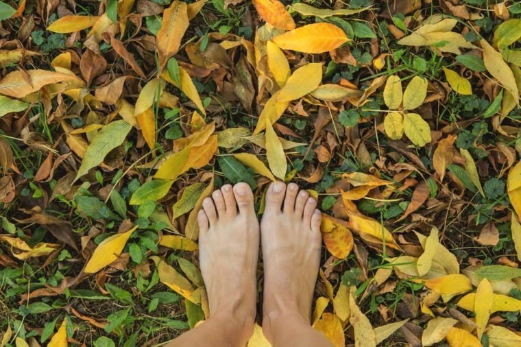 Two woman's bare feet stepping on dry yellow leaves.