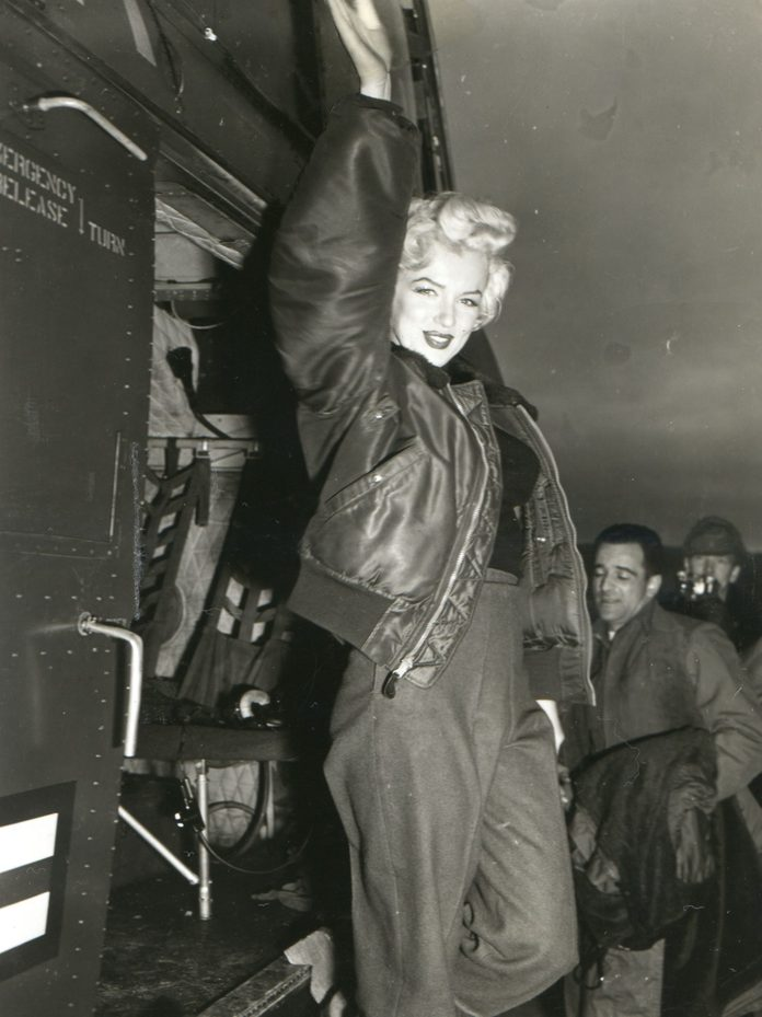 Various 17 Feb 1954 - Movie Actress Marilyn Monroe In Korea With Uso Campshow 'anything Goes' Arrives At The 3rd Us Inf Div Airstrip, And Poses For A Pin-up Shot