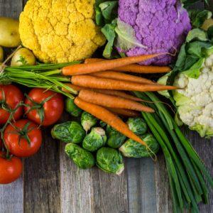 Fresh organic vegetable in season on old farm table.; Shutterstock ID 274389863
