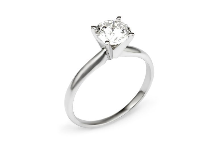 1.46 CT.T.W. Diamond Round Solitaire Ring Set in 14K White Gold (I/I1)