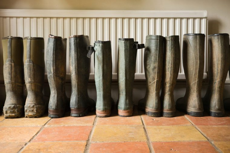 Wellington boots by the back door. Wellington boots (commonly referred to as 'welly's) are an iconic part of rural British lifestyle.