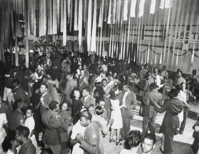 Mandatory Credit: Photo by Everett/Shutterstock (10305091a) Christmas Dance at the African American Service Club #3, Camp Swift, Texas. The dance was sponsored by the 1323rd Engineers. Historical Collection