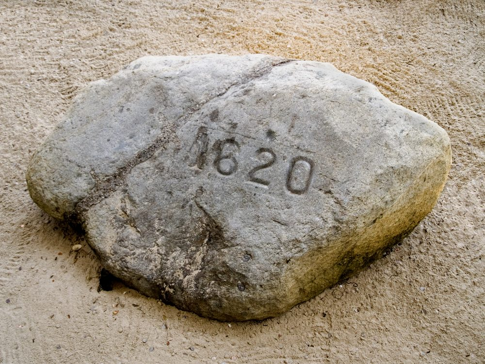 The famous Plymouth Rock, where the Mayflower supposedly landed in the New World.