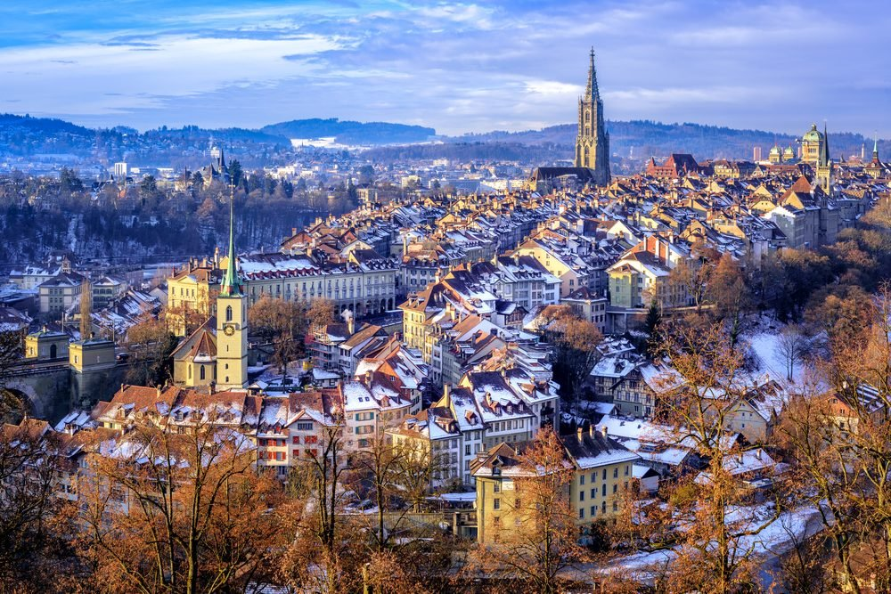 Old Town of Bern, capital of Switzerland, covered with white snow in winter