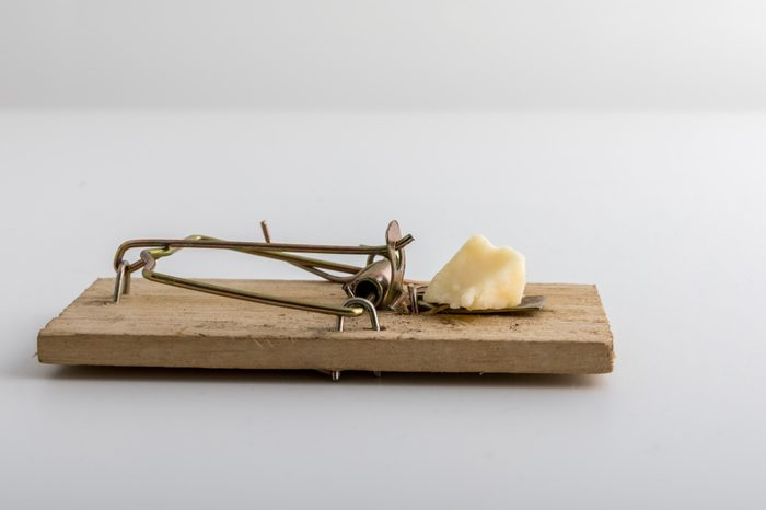 wooden mouse trap with cheese bait, light background