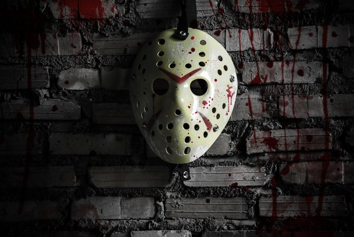Bloody hockey mask hung on the wall of the mortar. Looks awesome on Halloween.