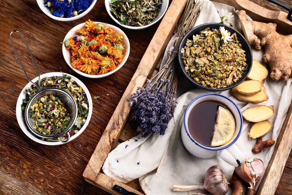 Natural Herbal medicine remedies. Top view