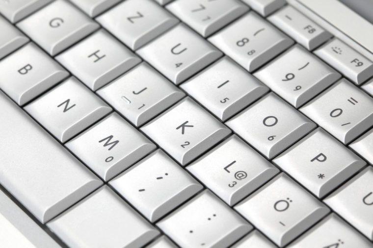 Closeup of a modern laptop keyboard