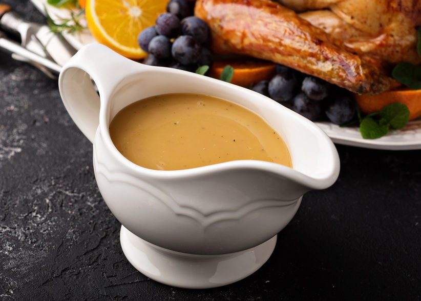 Homemade gravy in a sauce dish with turkey for Thanksgiving or Christmas