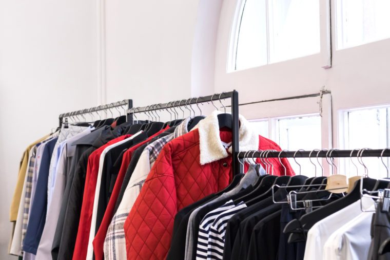 Stylish clothes in the thrift shop. Mindfulness consumering