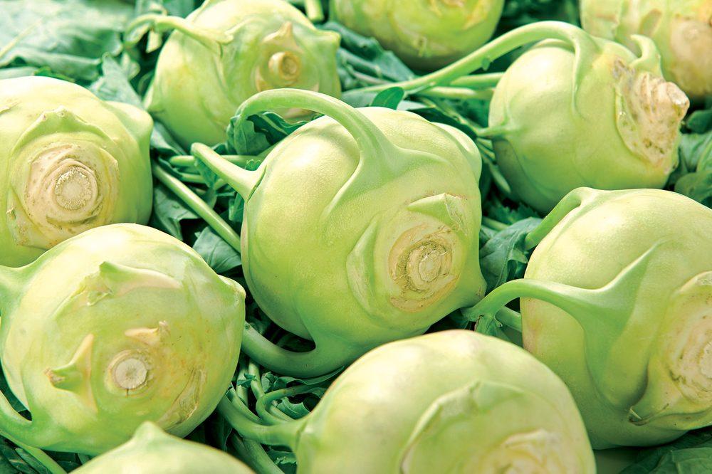 Green Kohlrabi on white background raw for vegetable