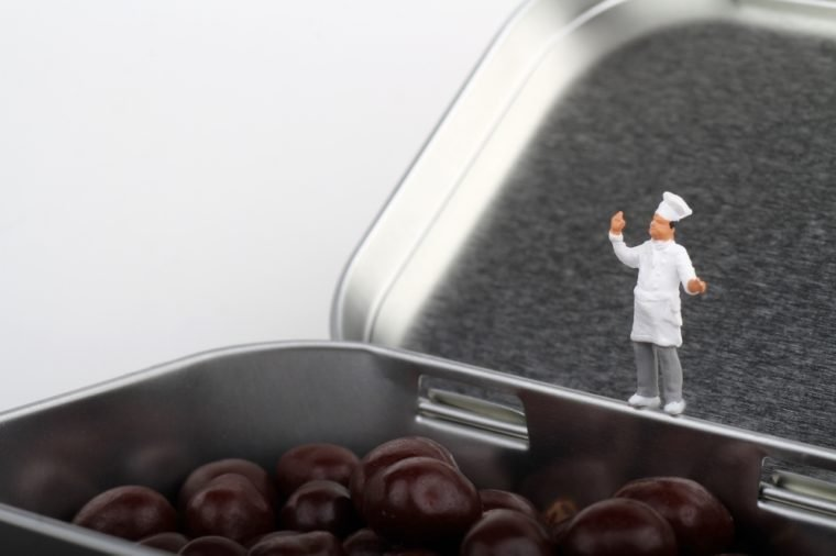 miniature of a chef on a chocolate pralines box
