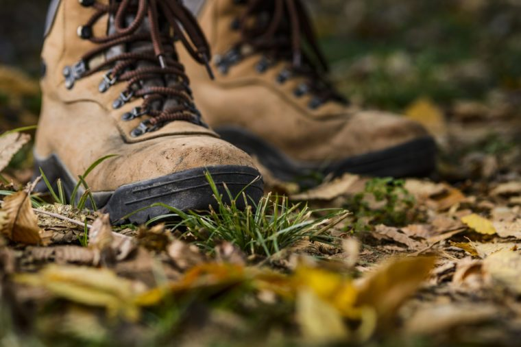 hiking boots on the forest floor