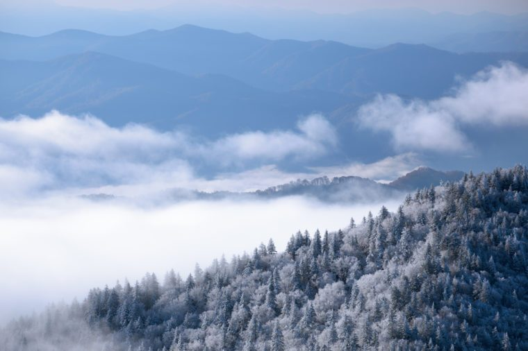 Landscape from Clingmans Dome with snow, fog, and frost, Great Smoky Mountains National Park, Tennessee, USA