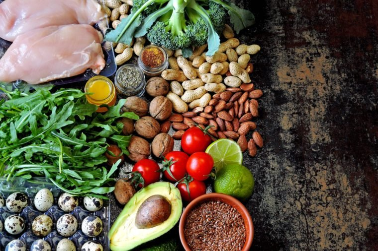 A set of healthy products for diet food. Superfoods Products useful for influencing the body. Vegetables, nuts, quail eggs, greens, chicken meat. Products containing vitamins and trace elements.