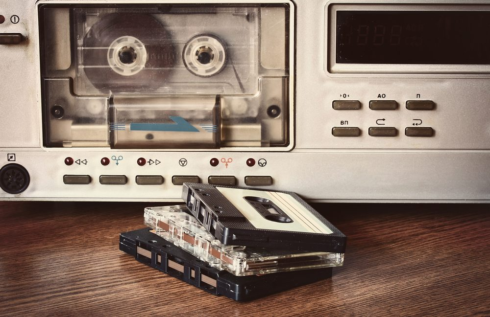 old retro cassette recorder stands on a table