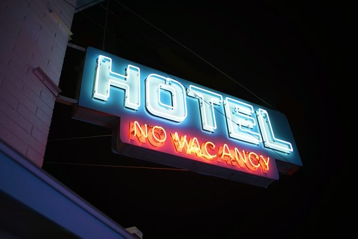 No Vacancy Hotel/ Motel Sign Downtown City