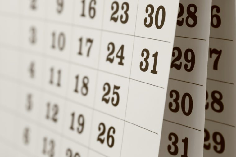 Calendar page, close up