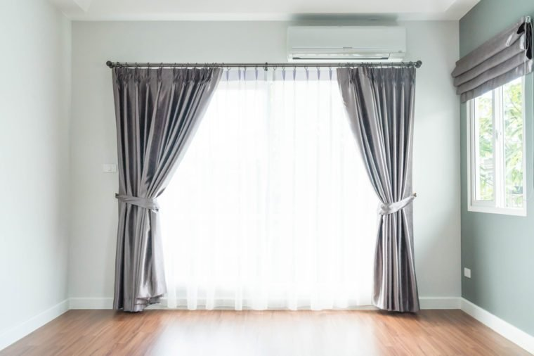 empty curtain interior decoration on wall in living room