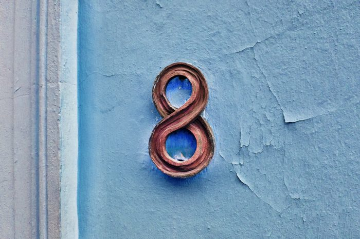 Number 8 house number on the wall eight