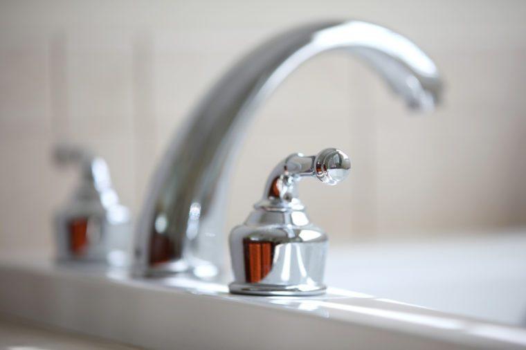 Close up shot of nice tub faucet