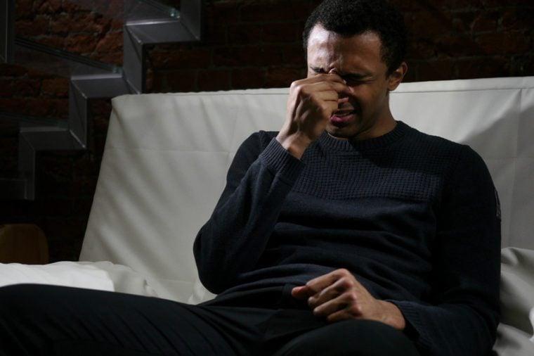African Man Feeling Broken, Tears in Eyes, Weeping